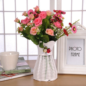 Artificial Rattan Flower Vase-home accent-wanahavit-wanahavit