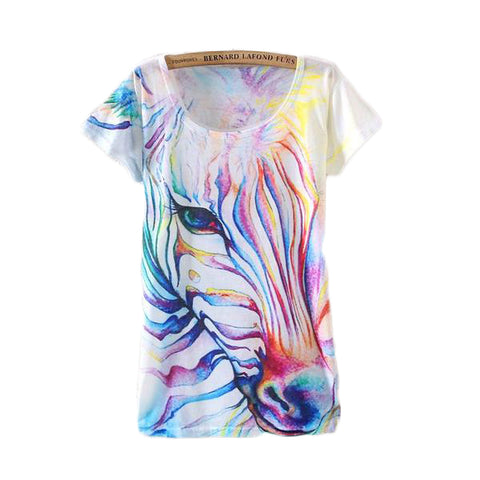 Watercolor Zebra Printed Short Sleeve Tees