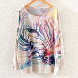 Watercolor Zebra Printed Knitted Long Sleeve