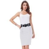 Sexy Pencil Office High Waist Skirt With Belt-women-wanahavit-White-S-wanahavit