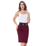 Sexy Pencil Office High Waist Skirt With Belt-women-wanahavit-Dark Red-S-wanahavit