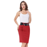 Sexy Pencil Office High Waist Skirt With Belt-women-wanahavit-Red-S-wanahavit