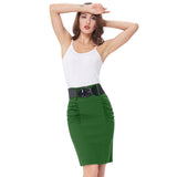 Sexy Pencil Office High Waist Skirt With Belt-women-wanahavit-Green-S-wanahavit
