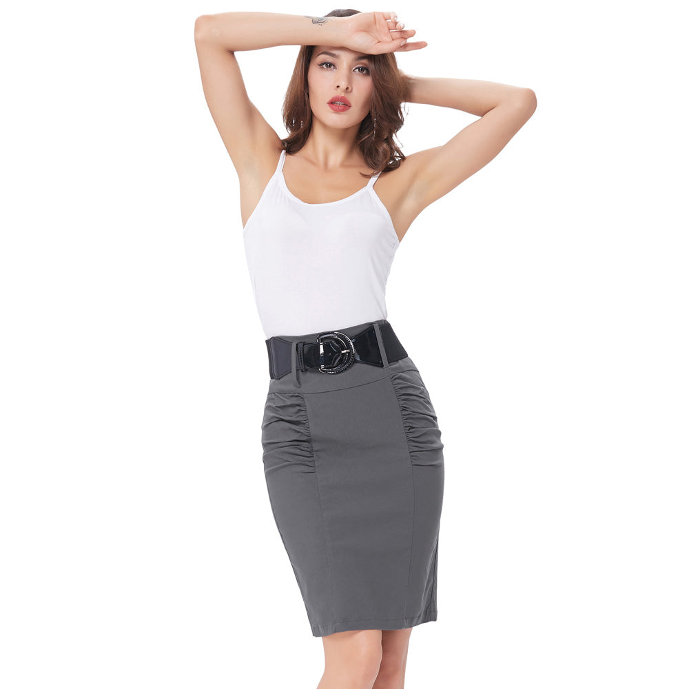 Sexy Pencil Office High Waist Skirt With Belt For Women - Wanahavit-1957