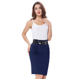 Sexy Pencil Office High Waist Skirt With Belt-women-wanahavit-Dark Blue-S-wanahavit