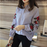 Floral Embroidered Autumn Long Sleeve Blouse