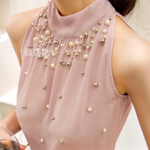 Beading Chiffon Turtleneck Sleeveless Blouse