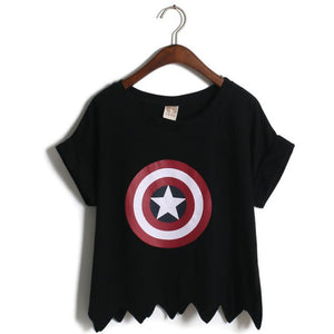 Captain America Shield Harajuku Crop Top Shirt-women-wanahavit-Black-One Size-wanahavit