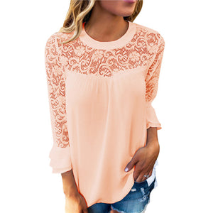 Elegant Hollow Out Lace Blouse-women-wanahavit-Beige-S-wanahavit