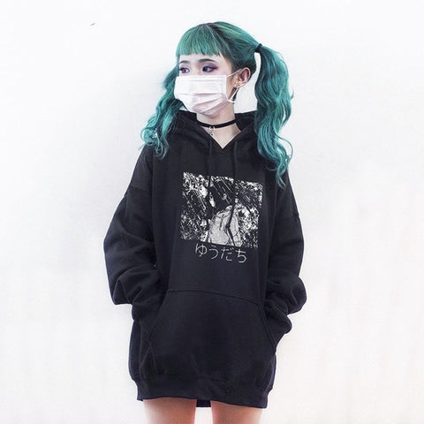 Gothic Cool Chic Loose Cotton Fleece Hooded Sweatshirt-women-Black-One Size-wanahavit