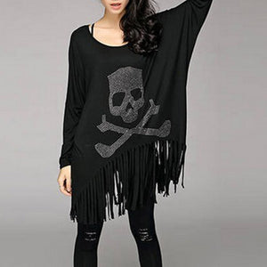 Plus Size Batwing Sleeve Skull Printed Tassel Cotton Long Sleeve-women-wanahavit-Black-One Size-wanahavit