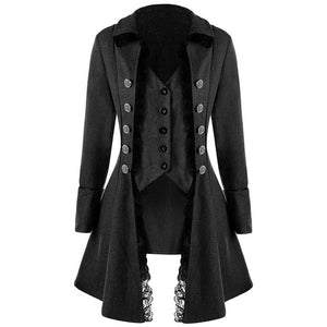 Gothic Casual Party Long Slim Plain Overcoat-women-wanahavit-Black-L-wanahavit