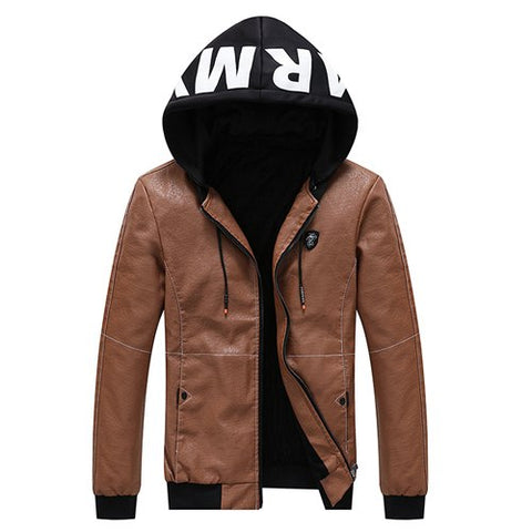 Army Printed Color Accent Leather Hooded Jacket