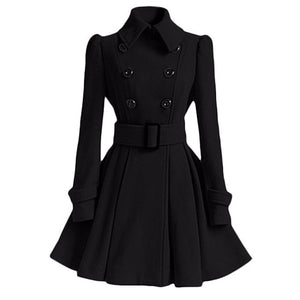 Winter Women Overcoat Slim A-Line Trench Coat-women-wanahavit-Black-S-wanahavit