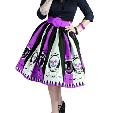Gothic Skull Printed Pleated Long Skirt-women-Purple-S-wanahavit