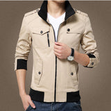 Elegant Color Accent Cotton Military Jacket-unisex-wanahavit-Khaki-M-wanahavit
