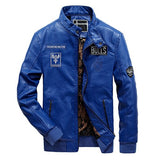 Biker Leather Casual Bomber Jacket-unisex-wanahavit-Blue-XL-wanahavit