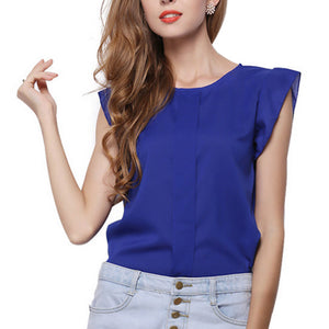 Butterfly Sleeve Chiffon Blouse-women-wanahavit-Blue-S-wanahavit