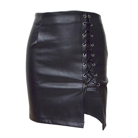 Gothic Faux Leather Skirt High Waist Lace Up Mini Skirt-women-black-S-wanahavit