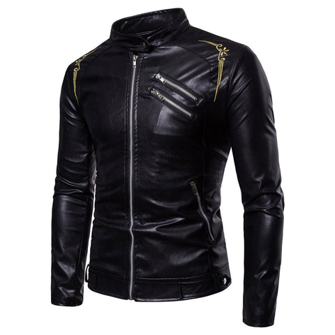 Gothic Faux Leather Slim Fit Jacket-unisex-Black-M-wanahavit
