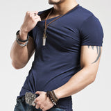 Slim Fit Cotton Solid Color Tees-men fashion & fitness-wanahavit-V Navy-S-wanahavit
