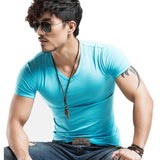 Slim Fit Cotton Solid Color Tees-men fashion & fitness-wanahavit-V Sky Blue-M-wanahavit