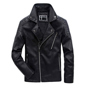 Biker Warm Bomber Leather Jacket Male-unisex-wanahavit-Black-L-wanahavit