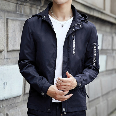 Mandarin Collar Hooded Slim Fit Jacket