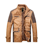 Biker Patchwork Warm Leather Jacket-unisex-wanahavit-Khaki-XXL-wanahavit