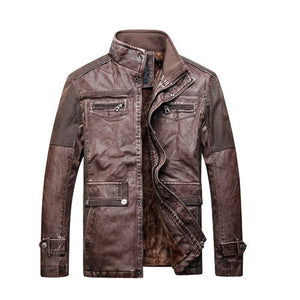 Biker Patchwork Warm Leather Jacket-unisex-wanahavit-Brown-XXL-wanahavit