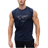 World Map Printed Sleeveless Shirt-men fashion & fitness-wanahavit-Navy Blue-M-wanahavit