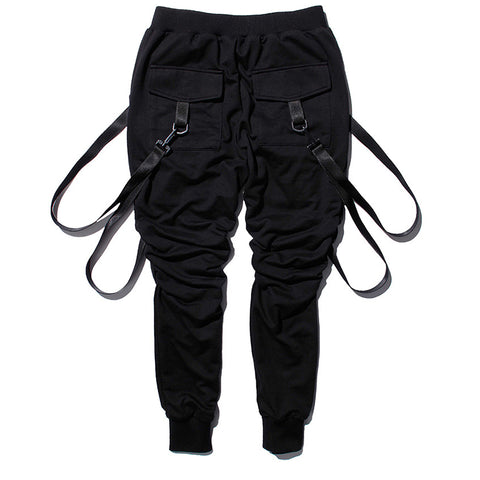 Hip Hop Belted Streetwear Jogger Pants-men-Black-M-wanahavit