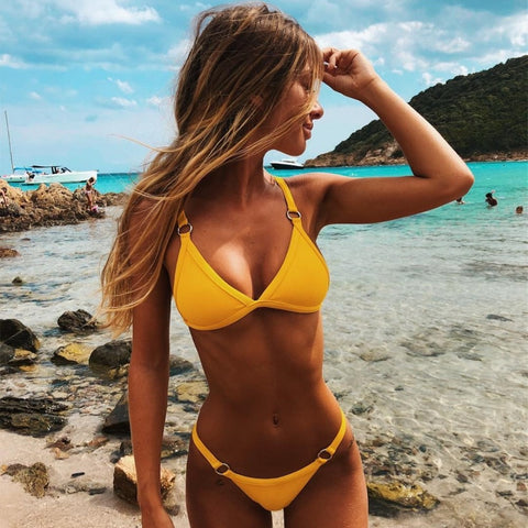 Sexy Halter Push Up Brazilian Bikini-women fitness-wanahavit-yellow-S-wanahavit