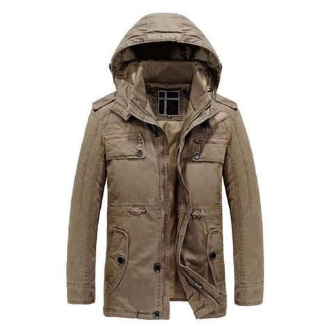 Cotton Winter Hooded Solid Warm Jacket-unisex-wanahavit-Khaki-XXL-wanahavit