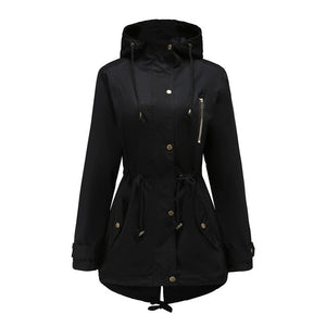 Warm Gothic Lace Up Hooded Coat-women-wanahavit-Black-S-wanahavit