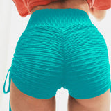Laced Slit Solid Color Fitness Shorts-women fitness-wanahavit-Blue-L-wanahavit