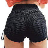 Laced Slit Solid Color Fitness Shorts-women fitness-wanahavit-Black-L-wanahavit