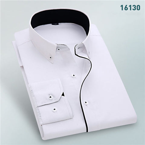 High Quality Solid Long Sleeve Shirt #161XX-men-wanahavit-16130-S-wanahavit