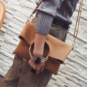 Fold Over Envelope Round Handle Messenger Bag + Handbag-women-wanahavit-brown-(30cm<Max Length<50cm)-wanahavit