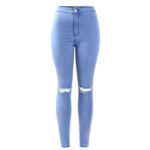High Waist Stretch Ripped Knees Distressed Skinny Pants