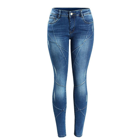 Cross Line Patchwork Low Waist Stretchy Skinny Pants-women-wanahavit-blue-S-wanahavit