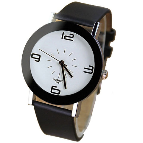 Elegant and Minimalistic Quartz Watch-unisex-black strap white-wanahavit