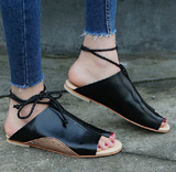 Ankle Strap Soft Leather Flat Sandals-women-wanahavit-Black-5-wanahavit