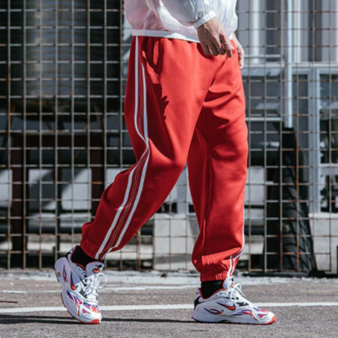 White Striped Elastic Jogger Sweatpants-men fitness-wanahavit-Red-S-wanahavit