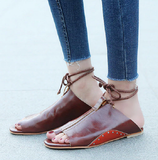 Ankle Strap Soft Leather Flat Sandals-women-wanahavit-Red-brown-5-wanahavit