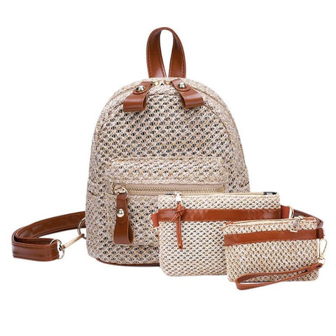 Bohemian Straw Hollow Out Set Backpack + Shoulder Bag + Clutch-women-wanahavit-Light Brown-wanahavit