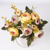 5 Branches European Style Artificial Rose-home accent-wanahavit-gray yellow-wanahavit
