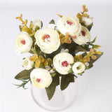 5 Branches European Style Artificial Rose-home accent-wanahavit-white-wanahavit
