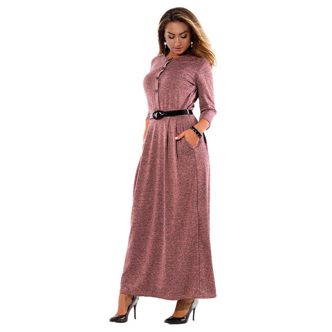 Plus Size Pleated Vintage Style Dress-women-wanahavit-purple-XXL-wanahavit