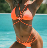 Sexy Braided Strap Brazilian Bikini-women fitness-wanahavit-Orange-L-wanahavit
